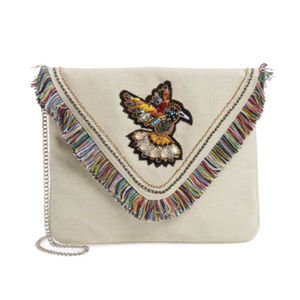 STEVE MADDEN EMBELLISHED BIRD OVERSIZED CLUTCH BAG